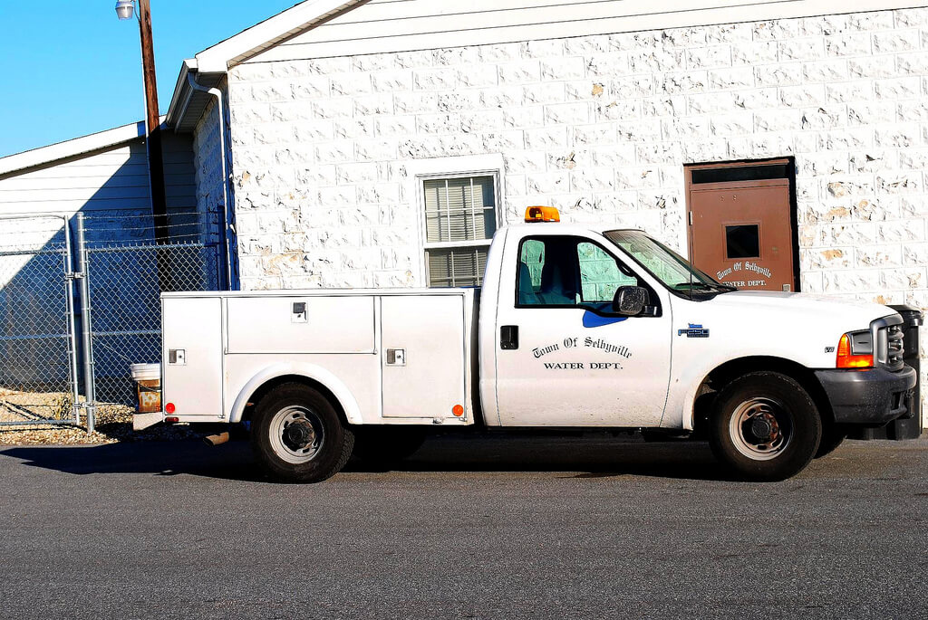 A parked water department truck in Selbyville.