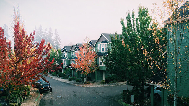 Quaint neighborhood in autumn
