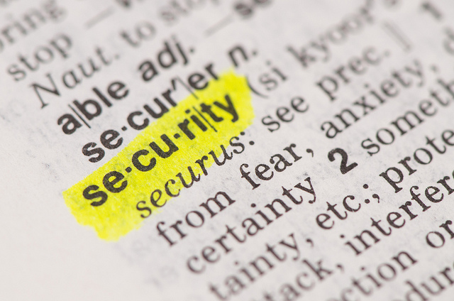 The word 'security' highlighted in a dictionary.